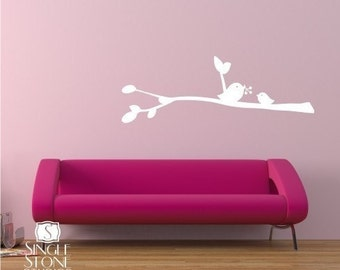 Nursery Birdies with Berries Wall Decal - Vinyl Wall Stickers Art Custom Home Decor