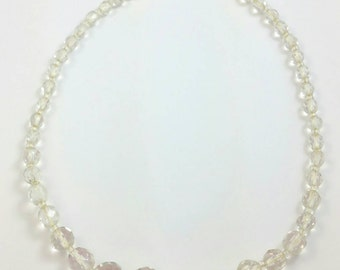Clear Faceted Glass Choker Necklace Unsigned