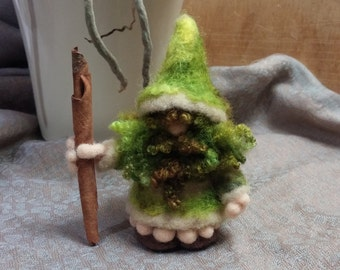 Gnome, Needle Felted Mossy Gnome, Forest Creature, Soft Sculpture, Art Doll, Mythical Magical, Made to Order