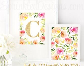 Floral Nursery Decor, Nursery Letter C, Baby Girl Nursery Decor, Printable Girl Nursery Initial Wall Art, Floral Home Decor, Floral Birthday