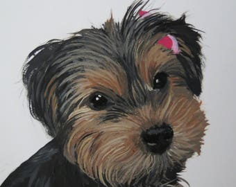 Pet Portrait on Aluminum Paper Made to order from photo 5 x 7 inch Yorkie or Any Animal by Pigatopia