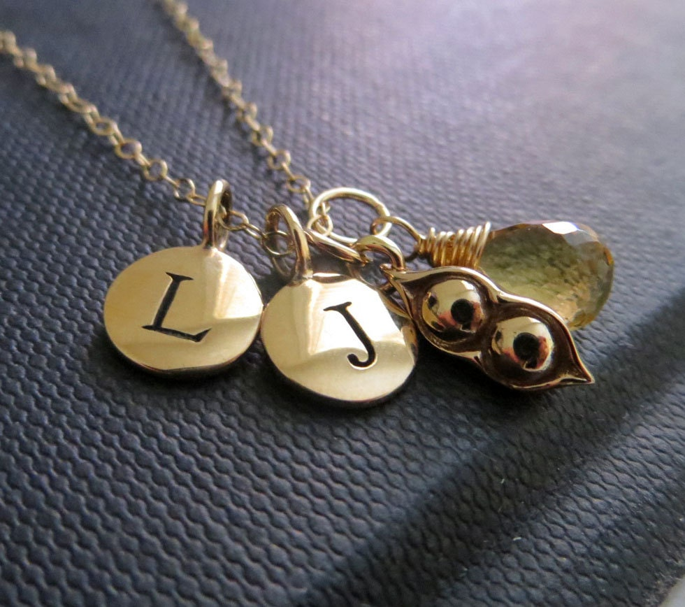 Personalized necklace two peas in a pod necklace initial zoom negle Choice Image