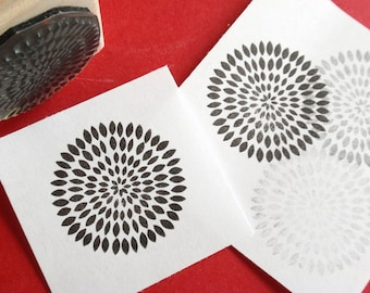 Modern Chrysanthemum / Mum / Zinnia Flower Rubber Stamp  -  Handmade by BlossomStamps