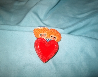 Vintage Costume Jewelry, Plastic Pin, Raggedy Ann & Andy