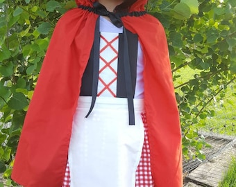Little Red Riding Hood Costume Dress Up Apron and Cape