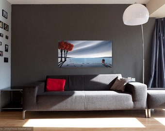 beach painting, coastal painting, coastal wall art, original acrylic painting, red tree painting, painting of beach, painting of the coast,