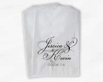Candy Buffet Treat Bags Personalized in Black - Favor Bags with Bride and Groom Names and Wedding Date - Custom Paper Bags (0042)