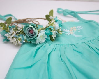 Semi Full Flower Halo Crown - Turquoise White Flowers and Greenery on Tieback Base - m2m Well Dressed Wolf Sundress and Teal Josie