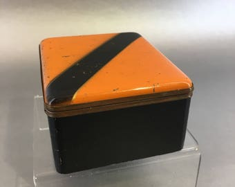 Vintage Mid Century Teak & Copper Enamel Wooden Trinket Box  Germany