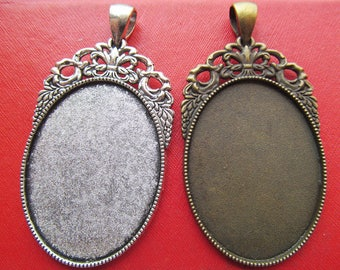 30x40mm Pendant Tray, Bezel Setting, 30x40mm Cabochon Tray - Antique Bronze,Antique Silver