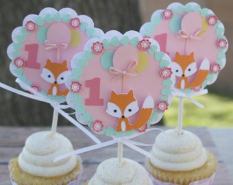 fox first birthday cupcake toppers, fox cupcake toppers, 1st birthday party decorations, first birthday party decor, woodland cupcake topper
