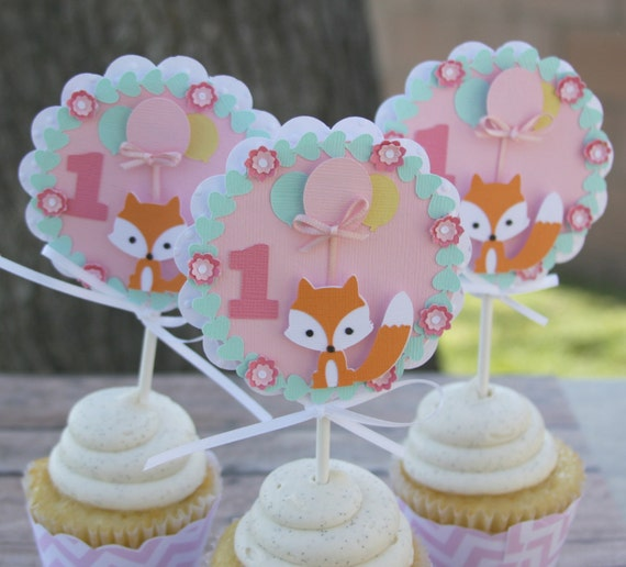 fox first birthday cupcake toppers fox cupcake toppers 1st