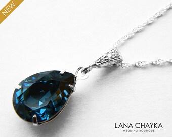 Navy Blue Crystal Necklace Montana Blue Teardrop Sterling Silver Necklace Swarovski Montana Rhinestone Necklace Bridal Bridesmaids Jewelry