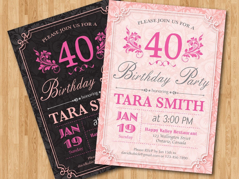 40th Birthday Invitation for Woman. Adult birthday party