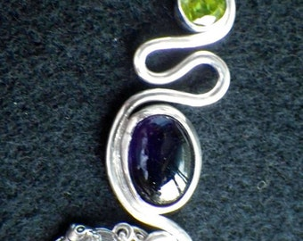 Amethyst and Peridot Sterling Silver Pendant with Charms