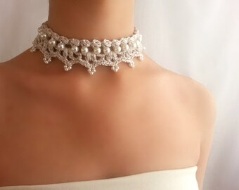 Baroque pearl choker , Renaissance necklace , Ivory bridal necklace , Unique jewelry , Statement necklace , Pride and prejudice , Vintage