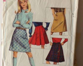 Simplicity 6707 Girls Skirts Size 6 Vintage 1966