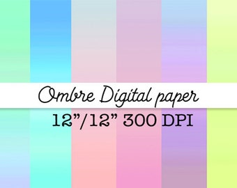 Pastel Ombre digital paper Gradient digital papers Ombre background Commercial Use Watercolor Instant Download