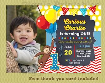 Curious George Invitation - Birthday Party Invitations - DIY Printables