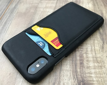 Iphone X Leather Wallet Case, ENGRAVED iphone X Credit Card Case, Slim Fit iphone X Wallet Case, Minimalistic iphone X Wallet Case - BLACK