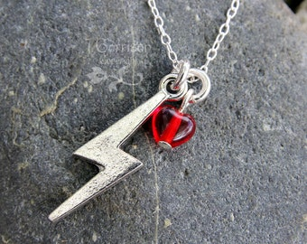 Lightning bolt & heart necklace - sterling silver chain - for fans of power, stormy weather, and wizards -Free Shipping USA