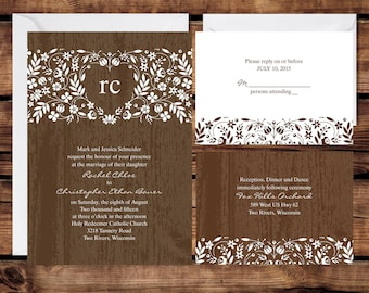 Woodland Floral Wedding Invitation Set, Personalized Wedding Invitations, Rustic Woodland Wedding, White Envelopes Included