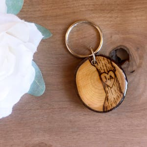 Initials in a Tree Keychain, Couples Keychain, 5th Anniversary Keychain, Woodland Keychain, Heart and Initials, Anniversary Gift, Pyrography
