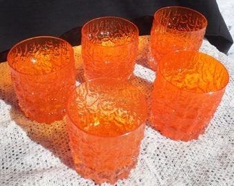 Whitefriar Tangerine Glass, Whitefriar Tree Bark Tangerine Glass, Whitefriar Low Ball Glass, Whitefriar Glasses