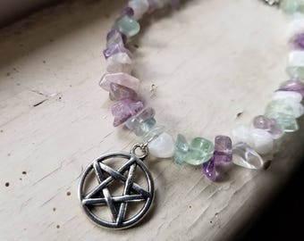 Crystal Witch Bracelet with Pentacle Charm and Rainbow Moonstone, Rainbow Fluorite and Amethyst