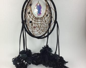 Double Dream Catcher black with Antique Crystal / Dreamcatcher double / Dream catcher home decor
