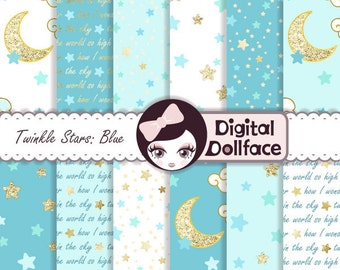"Blue and Gold Digital Paper, Blue Sky Digital Paper, ""Twinkle, Twinkle Little Star"" Baby Shower Decorations"