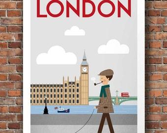 london print, london art, london poster, london, london wall art, london skyline, london decor, london gift, travel art, travel poster