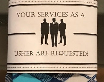Your services as a usher are request? Wedding party sock label (PDF label only)