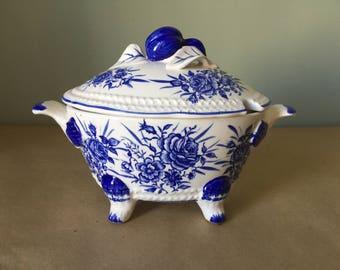 Blue and White Floral Porcelain Gravy Boat