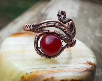 Copper ring/Agate ring/Wire Wrapped Ring/Healing stone/Beauty gift/birthday gift