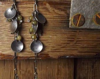 Green garnet earrings Sterling silver Grossular garnet Oxidized Handmade Long earrings