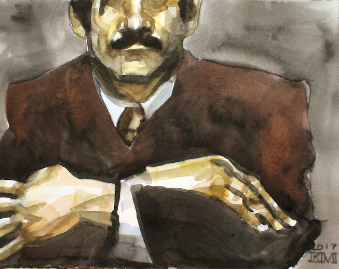 He Liked to Watch, 9x12 inches, watercolor on Rives BFK paper, by Kenney Mencher