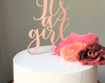 Laser Cut Cake Topper/It's a Girl/Baby Shower/Birth Announcement/Gender Reveal/Baby Decor