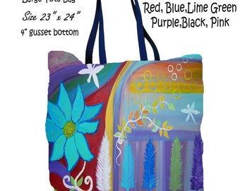 Retro trees abstract floral garden art double sided art printed beach bag from my artwork.