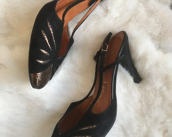 Vintage Black and Gold Suede Leather Slingback High Heels by La Vallee
