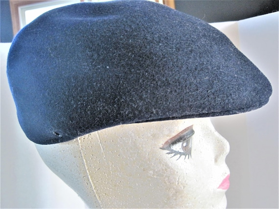 Royal Ascot Hat, Vintage Tam Cap - Newsboy Cap - Navy Blue - 100% Wool - Size Medium  Golden Gate Hat Company