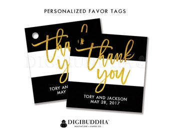 FAVOR TAGS Bridal Shower Favor Tag Thank You Tag Black & White Favor Label Tags Gift Tag Wedding Favor Tag DIY Printable or Printed - Tory