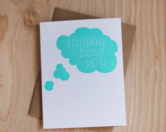 Thinkin bout you, letterpress greeting card