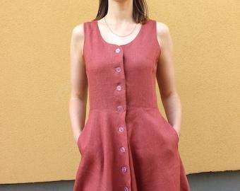 Buttoned linen dress with pockets,  sleevless midi terracotta dress, summer, autumn clothing