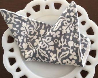 Grey floral Flannel Washcloths