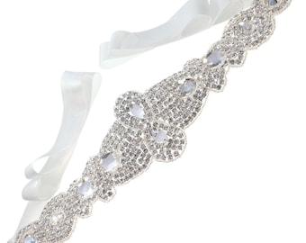Bridal Belt, Wedding Belt, Sash Belt, Crystal Rhinestone with Off-White Ribbon
