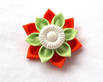 Orange and Green Succulent Barrette Tsumami Kanzashi Flower Hair Clip
