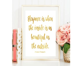 Elegance is when the inside is as beautiful Coco Chanel Gold Foil Print Black Print Gold Wall Art  Rose Gold Mural Prints Vintage Foil Quote