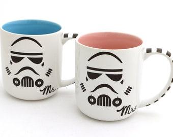 Mr and Mrs Star Wars (R) Storm Trooper Mug Set for Wedding or Anniversary, couples' mugs