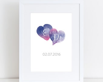 Personalised Wedding Print, Engagement, Anniversary Print, Watercolour Hearts, Calligraphy